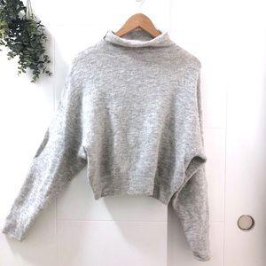 Aritzia • Wilfred Cropped Grey Mock Neck Sweater